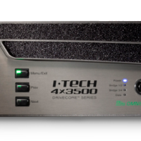 Photo of the freont panel on a crown iTech Amplifier at a close up.