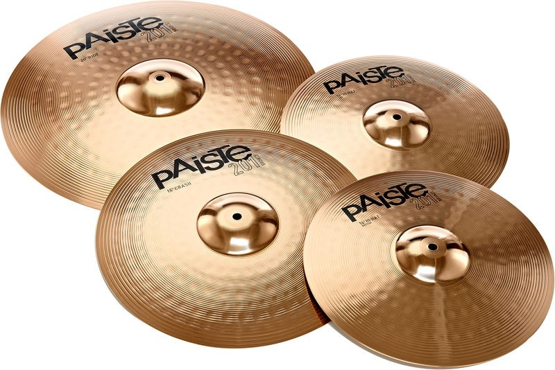 Selection of Paiste cymbals on a white background