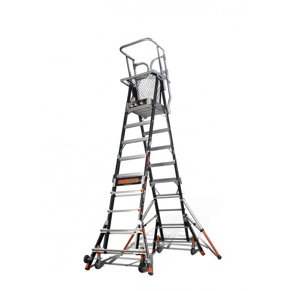 A ft little giant ladder standing with outriggers extended.